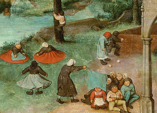 Section from Bruegel's painting 'Children's Games'